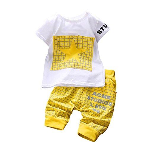 K-youth Conjuntos Bebé Niño, Ropa Recién Nacidos Bebe Niño Camiseta Mangas Cortas Enrejado Estrellas Cartas Estampado Tops y Pantalones Verano Ropa Conjunto (Amarillo, 12-18 Meses)