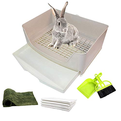 PINVNBY Large Rabbit Litter Box Corner Toilet Box Bigger Pan Pet Potty Trainer with Drawer for Adult Bunny Guinea Pig Chinchilla Ferret Galesaur Hedgehog Small Animals Pink