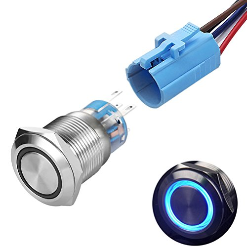 Quentacy Momentary Push Button Switch 1NO1NC Waterproof Silver Stainless Steel Shell 12V LED Ring Switch with Wire Socket Plug Suitable for 19mm 3/4 Mounting Hole (Blue)