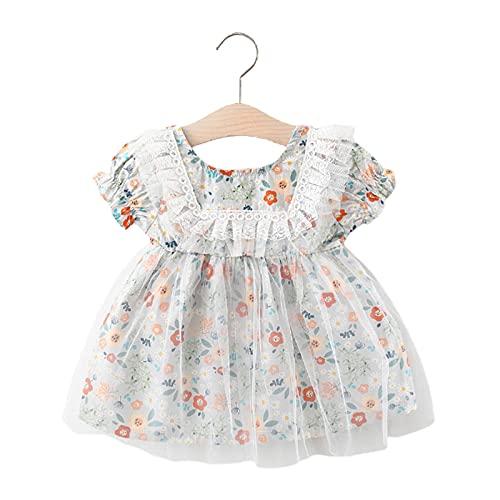 CJFael Sommerkleidung Mädchen Baby Kurzarm Baby Rock Rundhals Schweiß Absorption Blumenmuster Baumwolle Spitze Plissee Kleid für den täglichen Gebrauch Hellblau 100 cm
