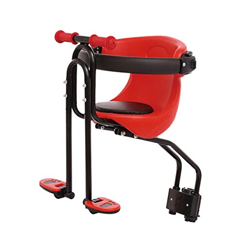 UNKN Bicycle Seat for Kids,Child Children Infant Toddler, Front Mount Baby Carrier Seat Bike Chair Carrier USA Safety Standard with Handrail, Great for Adult Bike Attachment (Red)