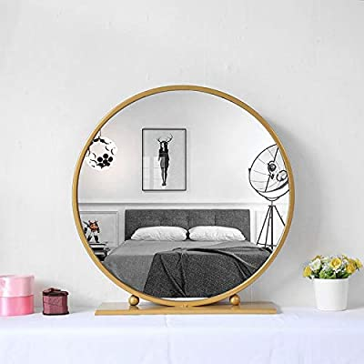 Gold Round Mirror with Base,Large Circle Mirrors for Dressing Table Decor,23.6in Big Metal Frame Standing Mirror,Modern Vanity Mirror for Living Room Bathroom Bedroom