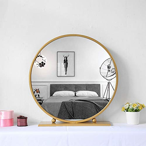 Gold Round Mirror With Base Large Circle Mirrors For Dressing Table Decor 23 6in Big Metal Frame Standing Mirror Modern Vanity Mirror For Living Room Bathroom Bedroom Wantitall