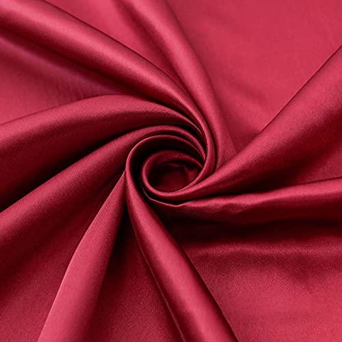 MUYUNXI Tela De Raso Forro De Tela SatéN para Vestidos De Novias Fundas Artesanías Vestidos Blusas Ropa Interior 150 Cm De Ancho Vendido por Metro(Color:Vino Rojo)