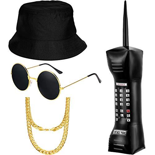 meekoo Hip Hop Kostüm Kit enthält Bucket Hat Sonnenbrille Faux Gold Kette aufblasbare Handy 80er Jahre 90er Jahre Hip Hop Cool Rapper Outfits Kostümzubehör
