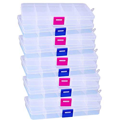 Sortierbox Sortimentskasten Aufbewahrungsbox Kunststoff Klein Sortierboxen Verstellbar Fächer Transparent Box mit Deckle 10 Fächer für Schmuck Ringe Ohrringe Perlen und Andere Mini Waren, 10 Stück