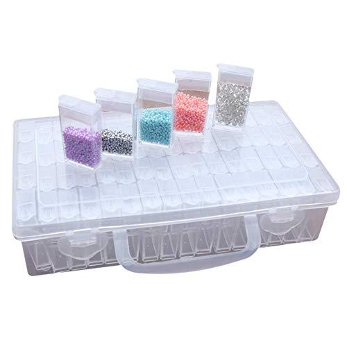 REYOK Diamant Stickerei Box Sortierbox 64 Fächer Aufbewahrungsboxen Diamant Malerei Zubehör Kunststoff Dosen Werkzeugbehälter Schmuck Organizer Diamond Painting Box für Nägel Perlen DIY Handwerk