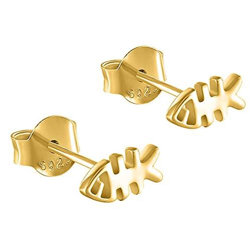 YAZILIND Pendientes de botón con forma de espina de pescado Joyería de oreja para mujer y niña