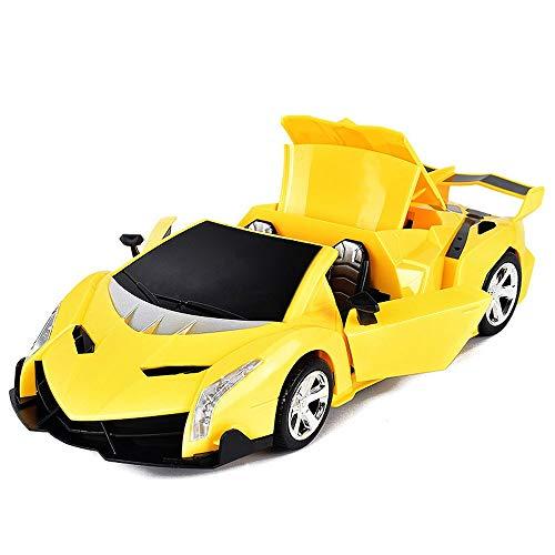 Coches eléctricos para niños, juguete Roadster, Modelo de carreras de escala 1:16 con luces y sonido, deformación automática, puertas de automóviles abiertas, regalos geniales para niños y niñas cumpl
