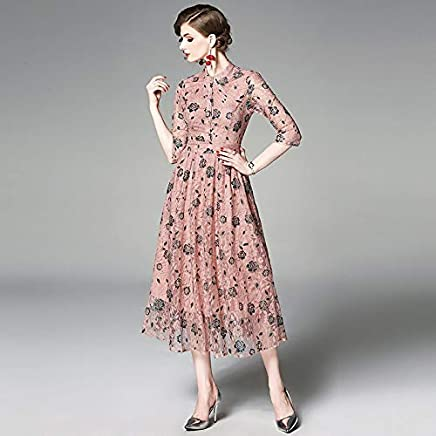 QUNLIANYI Ladies Summer Dresses Size Dress Pink Lace pink Embroidery Floral Women Dresses Party Elegant Vintage Clothes Female