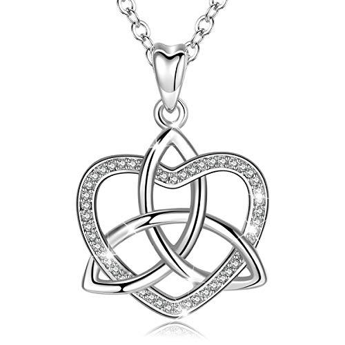 CELESTIA Keltische Knoten Liebe Halskette 925 Sterling Silber Kelte Herz Triquetra Dreieinigkeit Glück Hängende Halskette, 46CM Kette,Schmuck Geschenke für Frauen, Geschenk Verpackt