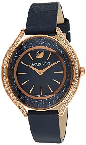 Swarovski Damen Uhr 5519447 Crystalline Aura, Lederarmband, blau, rosé vergoldetes PVD-Finish