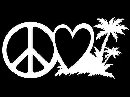 Peace Love Beach Life Vinyl Decal Sticker | Cars Trucks Vans Walls Laptops Cups | White | 7.5 X 3.7 Inch | KCD1619