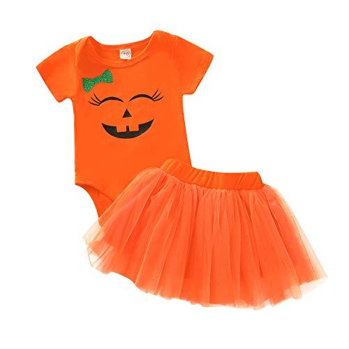Happy Town Baby Girl Halloween Costumes Pumpkin Smiles Short Sleeve Bodysuit Tutu Skirt Bowknot Dress Outfits (Orange, 18-24 Months)