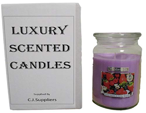 Luxury Scented Candle - 18 oz Jar with lid (Sweet Berries & Honey Blossom)