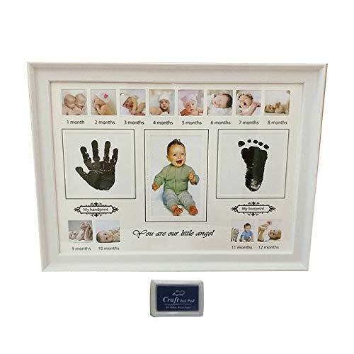 JunYe Baby Handprint Voetafdruk fotolijst met Stempel Inkt geboren Decor Gift Kids Imprint Hand Inkpad Souvenirs - Wit