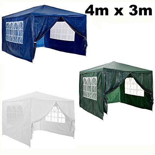 Autofather 4x3m Garden Gazebo Marquee Tent with 4 Side Panels (3 with Windows, 1 with Zip), Waterproof, Power Coated Steel Frame for Outdoor Wedding Garden Party for all Season - Blue