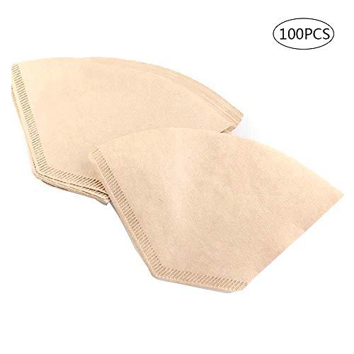 KEISL 100 Pcs Kaffeefilterpapiere Einweg-ungebleichte Kaffeepapiere Geeignet für Kaffeemaschinen und Kaffeekegel