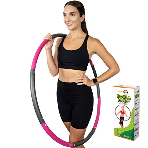 Better Sense Hoola Hoop for Adults - 8 Section Detachable Hoola Hoops, 2lb Weighted Hoola Hoop for Exercise - Portable Smooth & Soft Padding Weighted Hula Hoop (Pink)