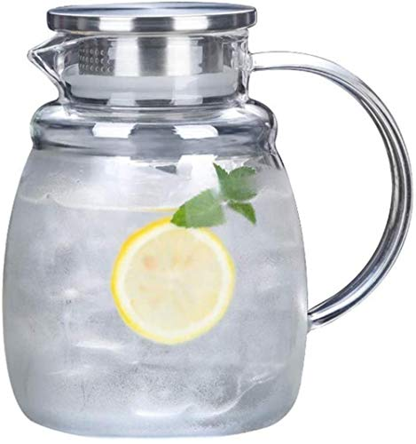 Tetera de cristal de 2,0 l/l, jarra de agua de cristal, resistente al calor, jarra de agua, tetera, tetera, botella de agua fría, antifugas, lado con tapa, juego de té (tamaño : 2000 ml)