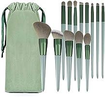 イクブラシ 13本セット グリーン化粧筆 厳選した極細毛をたっぷり使用 フェイスブラシ 高級タクロン 敏感肌適用 収納ポーチ付き 初心者 メークアップツー