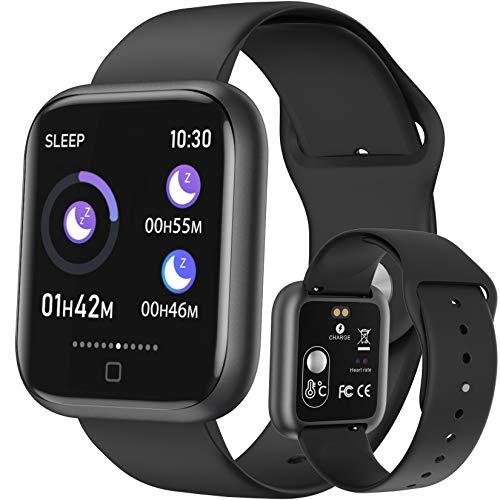 HAOYF Smartwatch De Temperatura Corporal, Pulsera Actividad A Prueba De Agua IP67 con Frecuencia Cardíaca Presión Arterial Oxígeno En Sangre Monitoreo del Sueño, Fitness Tracker Multifunción,Negro