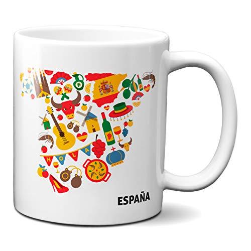 Planetacase Taza España Mapa Typical Spain - Taza Souvenir España Regalo Recuerdo Ceramica 330 mL