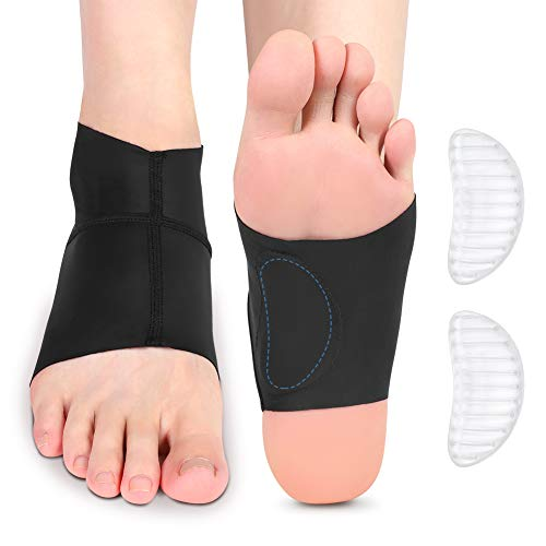 Arch Support Brace, Ankle Sleeve with Arch Support Ankle Protector Wrap with Gel Pads for Plantar Fasciitis, Heel Spurs, Feet Pain, Flat Arches Pain Relief, Fits Men and Women(1 Pair)