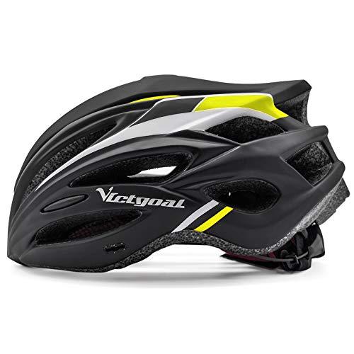 VICTGOAL Casco Bici Casco per Mountain Bike MTB Regolabile con Occhiali Magnetici Rimovibili e Visiera Shield per Adulti Uomo Donne Bicicletta Ciclismo (Nero Giallo)
