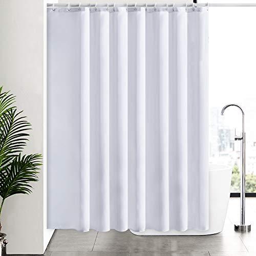 Weiß Duschvorhang Antischimmel, Badvorhang Wasserdicht für Dusche Badewanne in Bad, Duschvorhänge Überlänge aus Stoff Waschbar, Extra Breit 244x200 mit 16 Ringe.