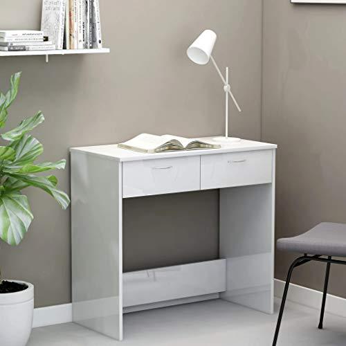 UnfadeMemory Mesa de Escritorio con 2 Cajones,Mesa de Oficina,Mesa de Ordenador,Madera Aglomerado,80x40x75cm (Blanco Brillante)