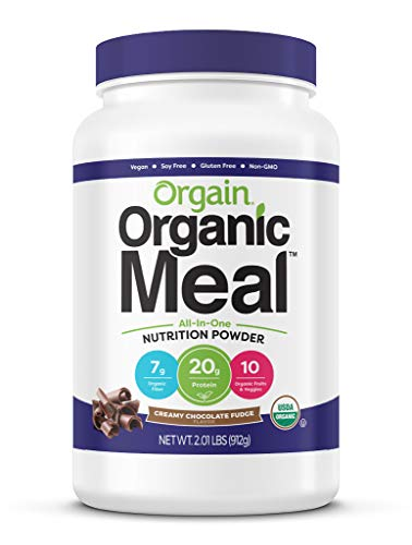 Vegan Protein Meal Replacement Powder by Orgain - Certified Organic and Plant Based, No Gluten, Soy or Dairy, Non-GMO, Creamy Chocolate Fudge, 2.01 Lb