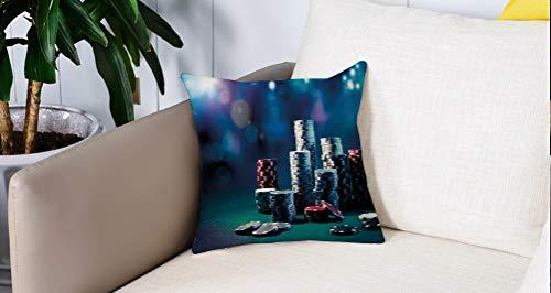 Square Soft and Cozy Pillow Covers,Decoraciones de torneos de póker, Mesa de juego con fichas de póquer Pantalla dramática Vegas L,Funda para Decorar Sofá Dormitorio Decoración Funda de almohada.