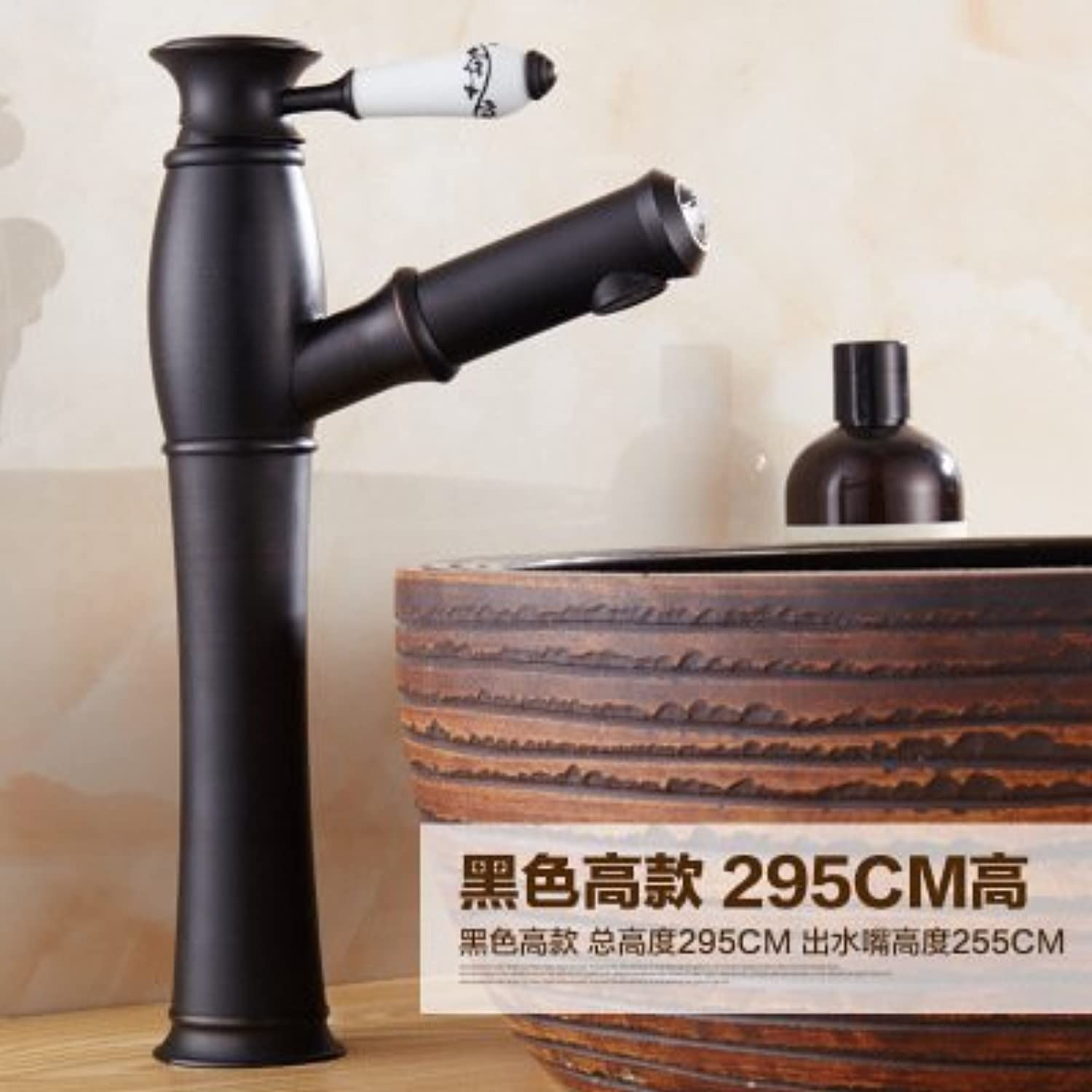 Hlluya Professional Sink Mixer Tap Kitchen Faucet Antique pull-down faucet bronze basin-wide scale redation,H