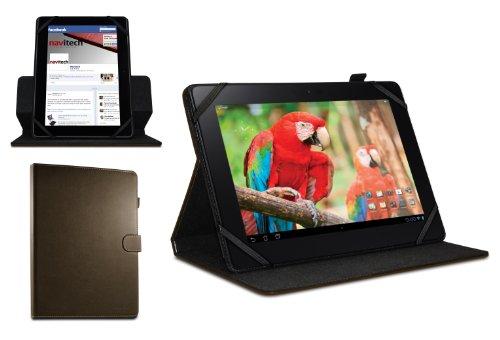 Navitech Custodia/Cover Marrone in Pelle Bycast a 360 Gradi di Rotazione per Olivetti OLIPAD 3 10.1'' / Olivetti OLIPAD 110 10.1''