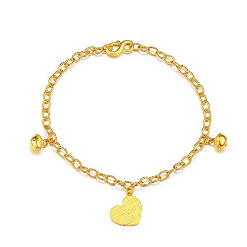 Adjustable Oro Amarillo De 24k Pulsera De Mujer, De Campana En Forma De Corazón De Accesorios Regalo