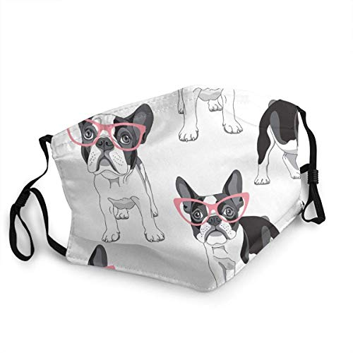 Black Frenchie Cartoon French Bulldog Pink Glasses White Dog Face CO-VER,Reusable,Washable Cloth,Face CO-VER,CO-VER