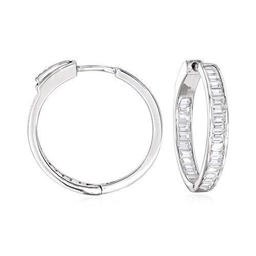 Ross-Simons 1.80 ct. t.w. Baguette CZ Inside-Outside Hoop Earrings in Sterling Silver