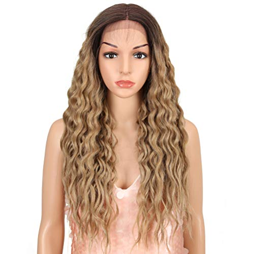 "Style Icon 27"" Lace Front Wig Long Curly Wavy Wig with Natural Straight Ends Ombre Synthetic Wigs for Women Heat Resistant Replacement Wig Density 130% (27"", TT6/23C Goddess Wig)"