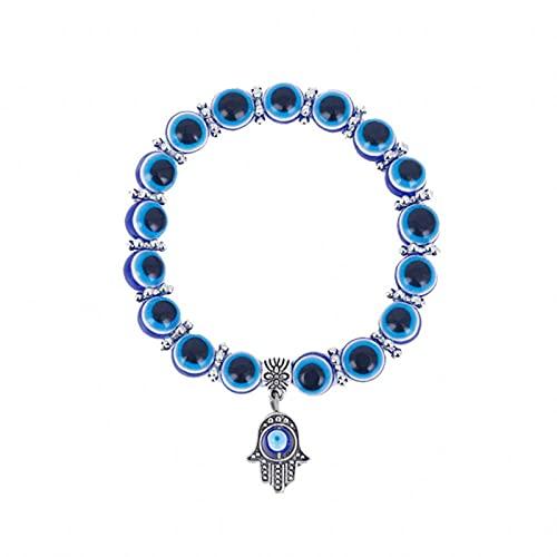 PangTuZiYin Pulseras de Palma de Fátima de Mano de Ojo Malvado Azul de Color Plateado a la Moda para Mujer, Pulsera de Abalorios, joyería Hecha a Mano de Estilo étnico