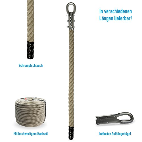 Grevinga® Klettertau mit Schrumpfschlauch und Kausche (verschiedene Längen) (4,00 Meter)