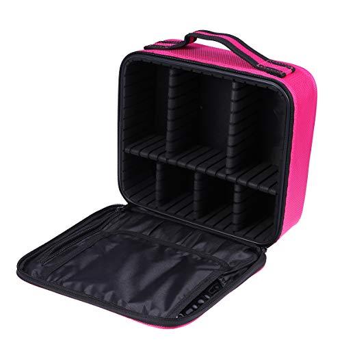 Topbathy - Estuche de maquillaje profesional con divisores ajustables, color rosa