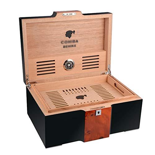Rangements 150 Humidificateurs À Cigares Humidors À Cigares Humidificateur Portable Étui À Cigarettes Portable Équipé D'un Humidificateur Et D'un Hygromètre (Color : Black, Size : 17.5 * 25.5 * 37cm)