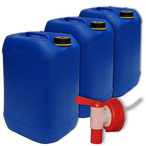 plasteo 3X 25 Liter Getränke- Wasserkanister mit 1 Hahn und 3 Schraubdeckel (DIN 61) | Lebensmittelecht | Tragbar | Indoor und Outdoor | BPA Frei Blau