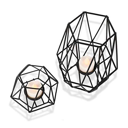 Kerzenhalter für Home Decor Kerzenständer für Teelicht Kerze Metall Geometrische Kerzenständer Matt Schwarz Groß Klein 2er Set