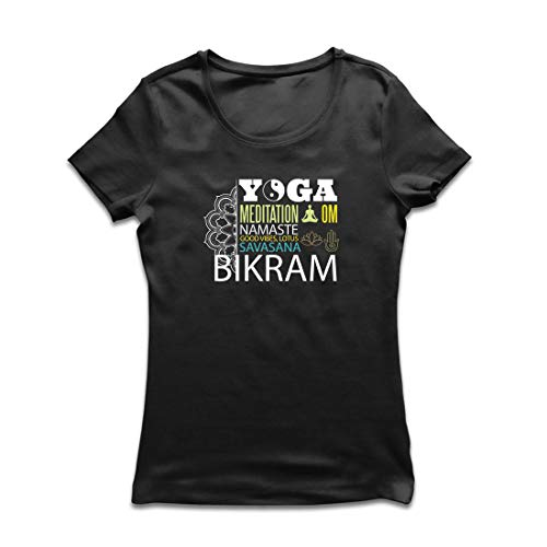lepni.me Camiseta Mujer Yoga Meditation Om Good Vibes Lotus Savasana Bikram (X-Large Negro Multicolor)