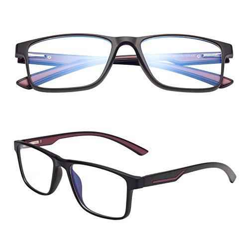 老眼鏡 ブルーライトカット ユニセックス メンズ レディース おしゃれ ウェリントン ケース付き 軽いリーディンググラス 度付き TR2388 レッド 度数+150