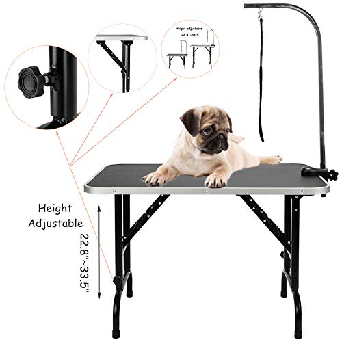 SUNCOO 36 Inch 22.8~33.5'' Height Adjustable Dog Grooming Table, Portable Pet Dog Cat Groomer Station, Professional Folding Drying Trimming Table w/Adjustable Arm & Noose Heavy Duty Steel 270 LBS