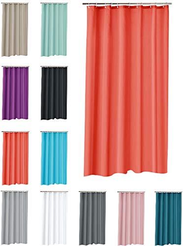 one-home Duschvorhang 180x200 cm wasserdicht Uni Badewannen Vorhang inklusive 12 Ringe, Farbe:Koralle