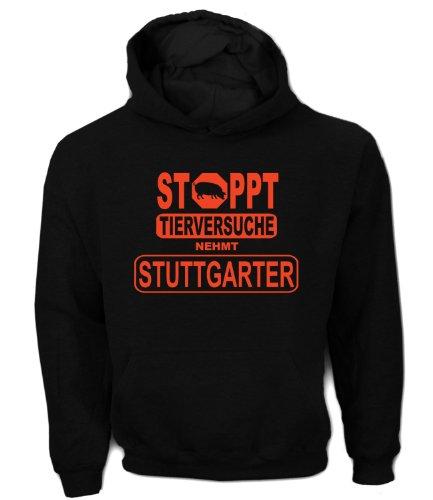 Artdiktat Herren Hoodie - Stoppt Tierversuche - Nehmt Stuttgarter, Größe L, schwarz